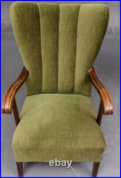 Vintage retro antique green velvet Danish chair armchair mid century mahogany