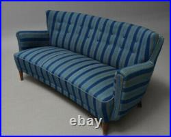 Vintage retro antique mid century Danish curved sofa couch blue Fritz Hansen 40s