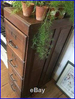 Vintage wooden filing cabinet dark wood 4 drawers VERSATILE STORAGE