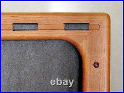 Vtg Mid Century Retro Eames Era Magazine Rack Holder Danish Teak Wood Leather
