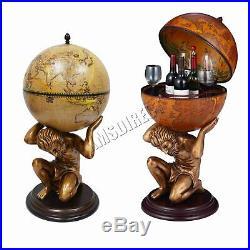 WestWood Vintage Globe Mini Bar Atlas Wine Drink Cabinet Antique Storage Bottle