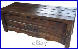 Wooden Blanket Box Coffee Table Trunk Vintage Chest Wooden Ottoman Toy Box