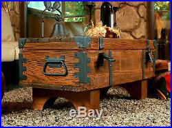 Wooden Trunk Coffee Table Cottage Steamer Trunk Pine Chest Vintage Box 3/3A